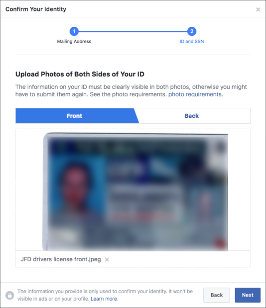 Facebook page authorization - upload ID